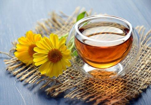 茶, ハーブティー, ドリンク, ホット, 役に立つ, 椀, カレンデュラ, 花