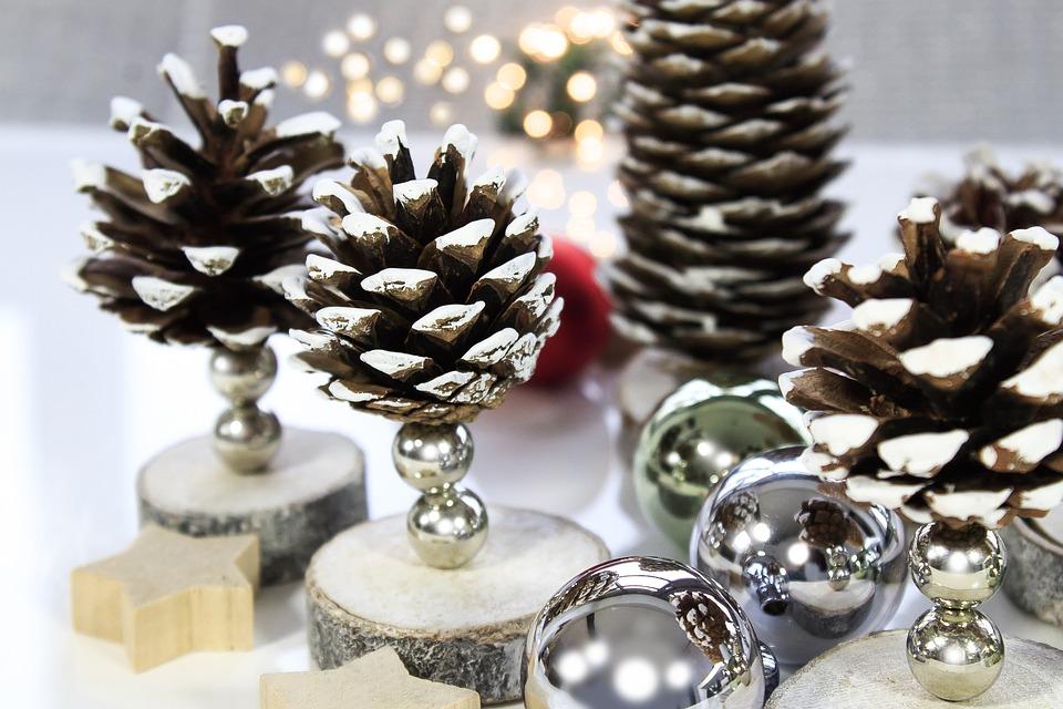 Natale, Pigne, Star, Stella In Legno, Luce, Palla