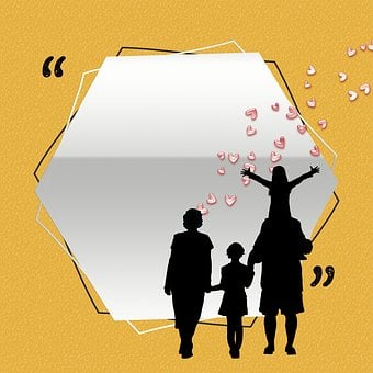 Yellow and white image with a family in silhouettes for 301 inspirational and motivational quotes