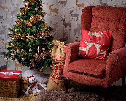 Christmas, Room, Chair, Stocking, Tree