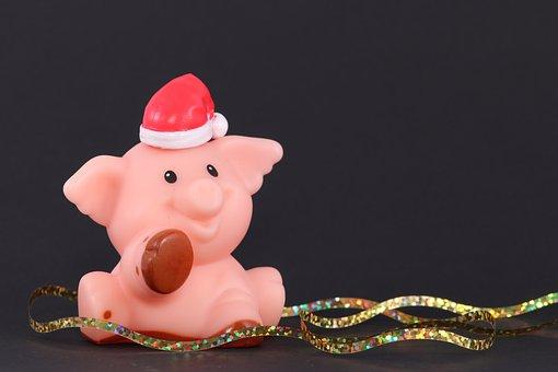 Christmas Pig, Santa Hat, Pig, Cap