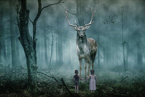 Fantasy, Animal, Deer, Forest, Children