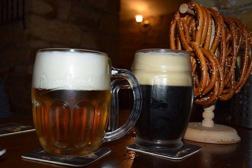 ビール, プラハ, チェコ共和国, レストラン, 居心地の良い, ドリンク