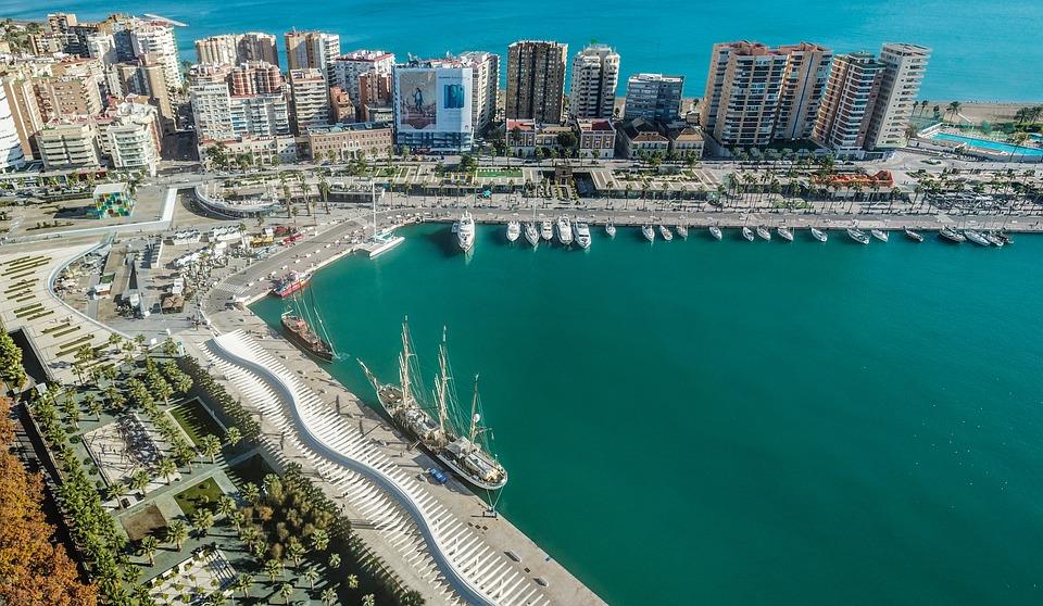 Malaga, Port, Bay, Horizon, Sea, Beach, City, Clouds