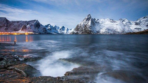 罗弗敦, 北, 诺兰, 山, 景观, 冬季, 挪威, 户外, 野生的, 风景