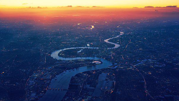 London, River Thames, Aerial View, Top