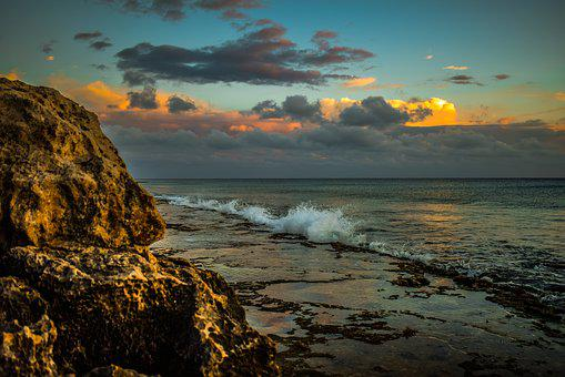 Rocky Coast, Beach, Sky, Clouds