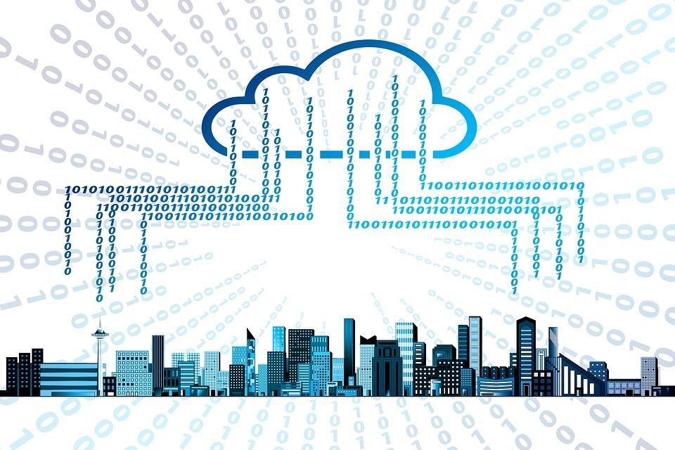 클라우드, 메모리, 저장 매체, 홈, 도시, 스카이 라인, 사용자, 기술, 인터넷, 연결