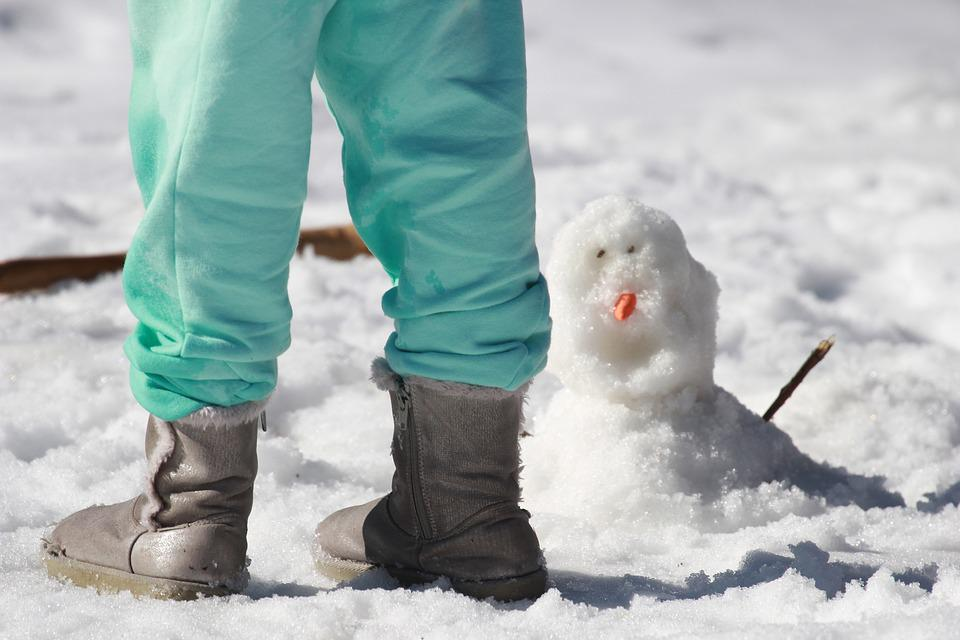 Boy is Wearing the Best Toddler Snow Boots and beside him is a snow man