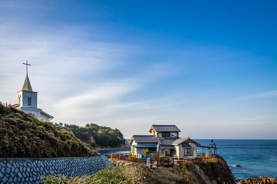 Sea, Hill, House, Travel, View, Summer, Church