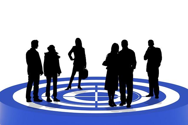 ターゲット, ターゲット グループ, 個人, 選択, シルエット, マーケティング, 特徴, 単一人, ペア