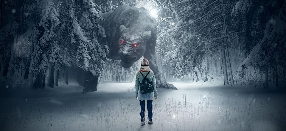 Fantasy, Forest, Dog, Monster, Girl, Snow, Winter