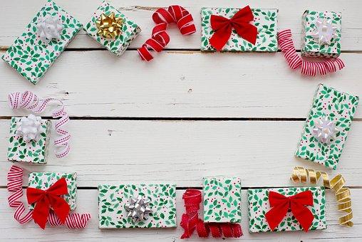 christmas flat lay border frame gifts