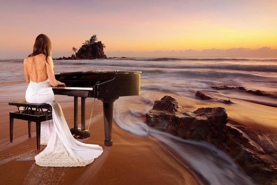Mare, Spiaggia, Tramonto, Sunrise, Pianoforte Spielerin