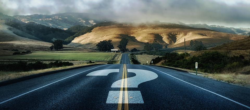 疑問符, 道路, 離れた, フォワード, 不確かな, 不確実性, 不確実です, 問題, 開発, 疑い, パズル