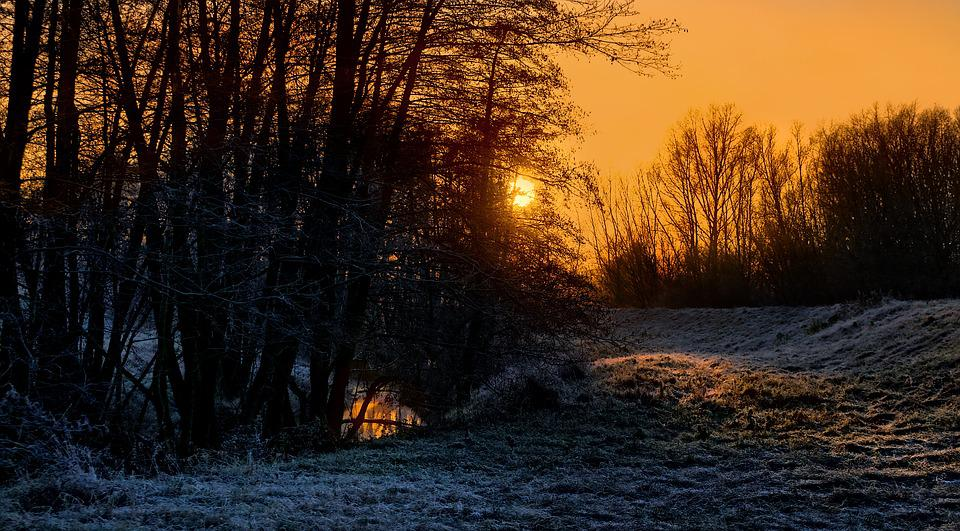 Sunrise, In The Morning, River, Cold, Nature, Landscape