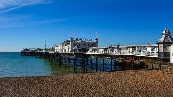 Pier, Brighton, Havet, Vann, Moro