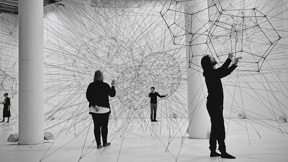 音響空間, ネットワーク, ワイヤー, 線, ネットワー キング, 博物館, アートワーク, 接続, 人間