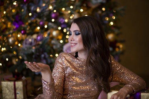 Girl, Christmas Tree, Christmas, Holiday