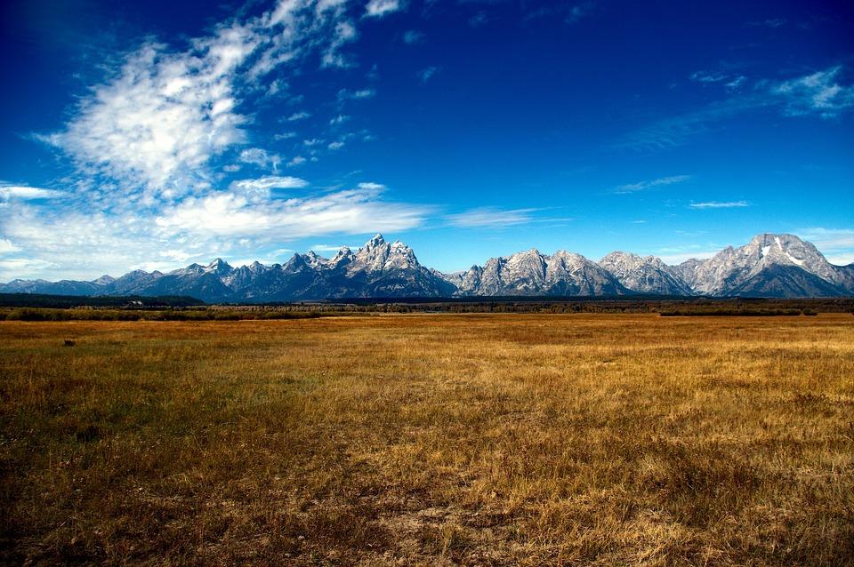 Tetonsの谷, 山, 大草原, 自然, 風景, 空, 雲, 高山, グランド, テトン, 国家, 公園
