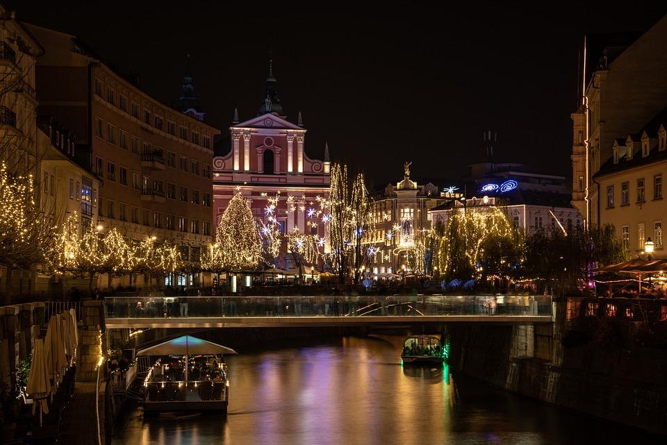 Ljubljana, Christmas, Christmas Tree, Lights, Evening