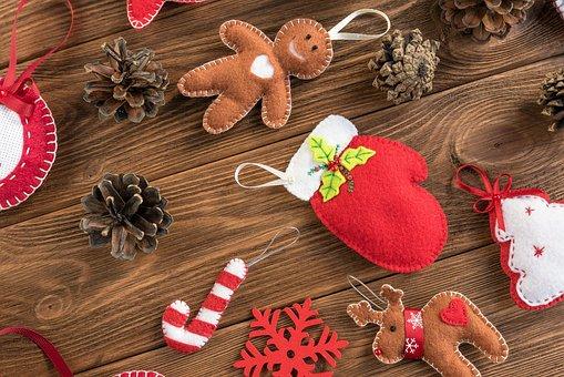 Christmas, Toys, Felt, Handmade, Pine