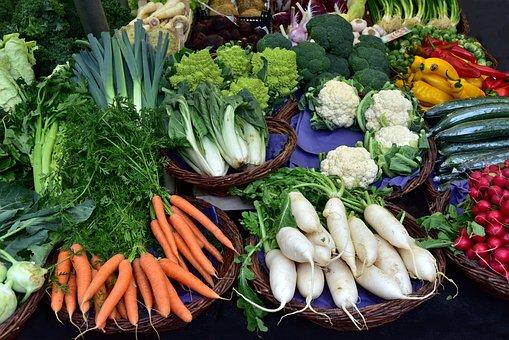 市場, 野菜, 市場の露店, 人参, 大根, コール, カリフラワー, 胡瓜