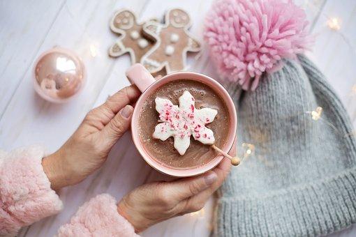 ピンク, クリスマス, ホット チョコレート, 居心地の良い, フラットレイ
