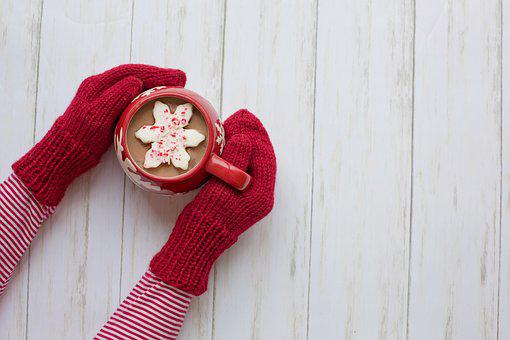 Mittens, Hot Chocolate, Red, Winter