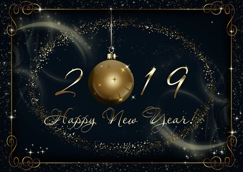 New Year, Postcard, Background, Blue
