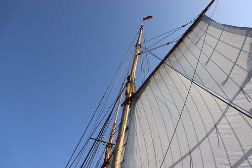 Segelschiff, Segel, Mast, Meer, Wind
