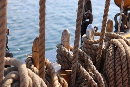 Segelschiff, Meer, Taue, Seile, Fest
