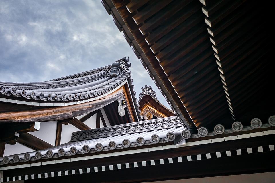 Pagoda, Dach, Temple, Linie, Drewno, Owalny, Bambus