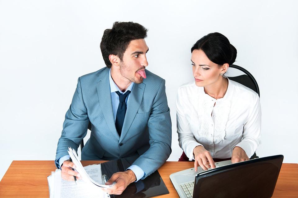 男, 女性, オフィス, 言語, 部長, 行, ノート, 書き込み, カップル, 若い, コスチューム, 仕事