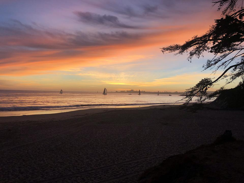 Sunset, Beach, California, Harbor, Santa Cruz