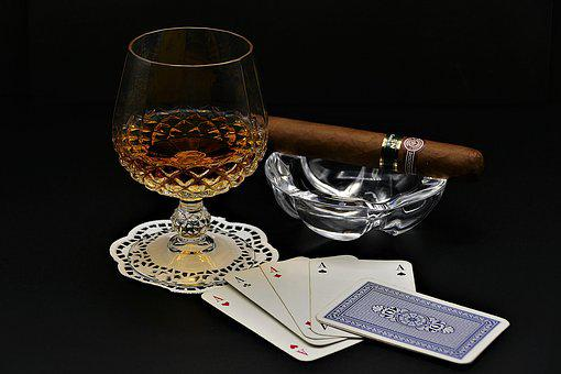 Cognac, Poker, Cigar, Playing Cards