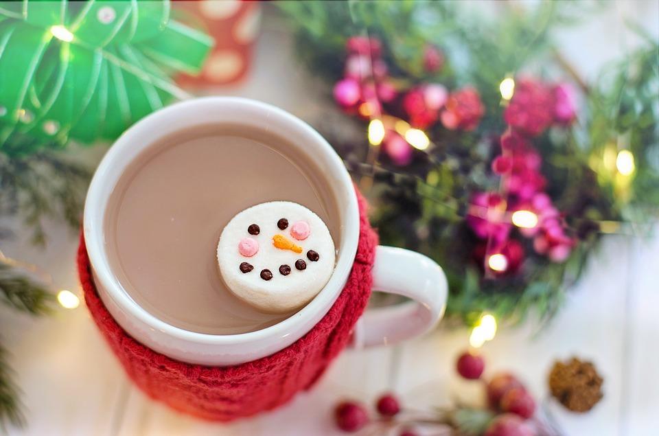 ホット チョコレート, ココア, マシュマロ, 雪だるま, クリスマス, 冬, ドリンク, マグカップ