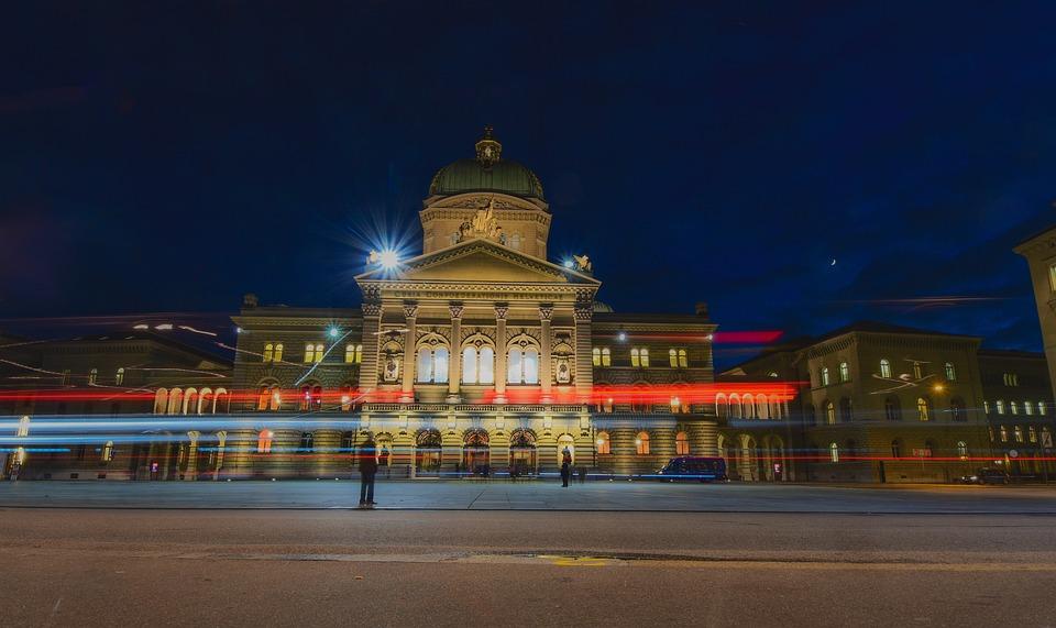 Stadt, Nacht, Gebäude, Bundesplatz, Bundeshaus
