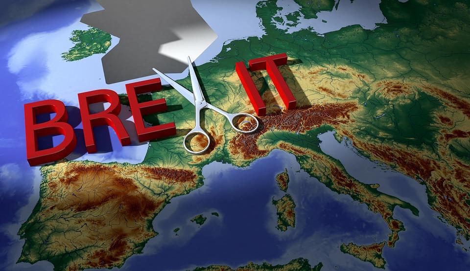 Brexit, 地図, はさみ, ヨーロッパ, ギャップ, 分離, 危機, 問題, アウトレット, 英国