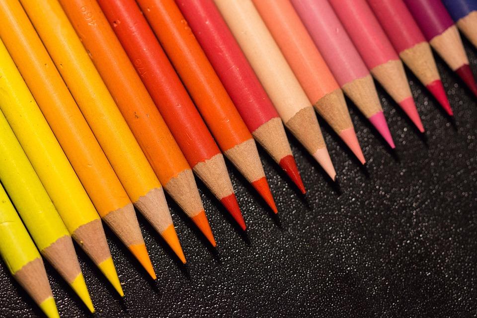 カラフル, ペン, ペイント, 色鉛筆, 色, クレヨン, 黄色, 赤, ピンク, 暖かい, 色相