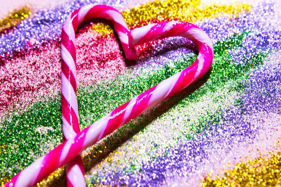 Candy Cane, Glitter, Shiny, Bling, Decorative, Sparkle