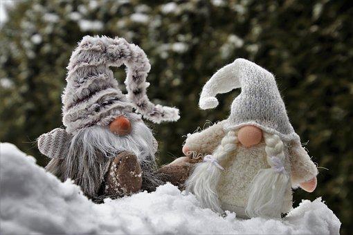 Imp, パラ, 一緒に, ドワーフ, 冬, 雪, 年月日, 彼と彼女, 装飾