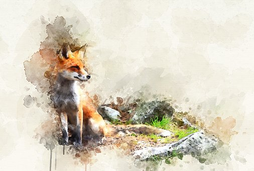 Nature, Animal, Forest, Fox, Painting
