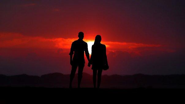 Sunset, Couple, Love, Romance, People