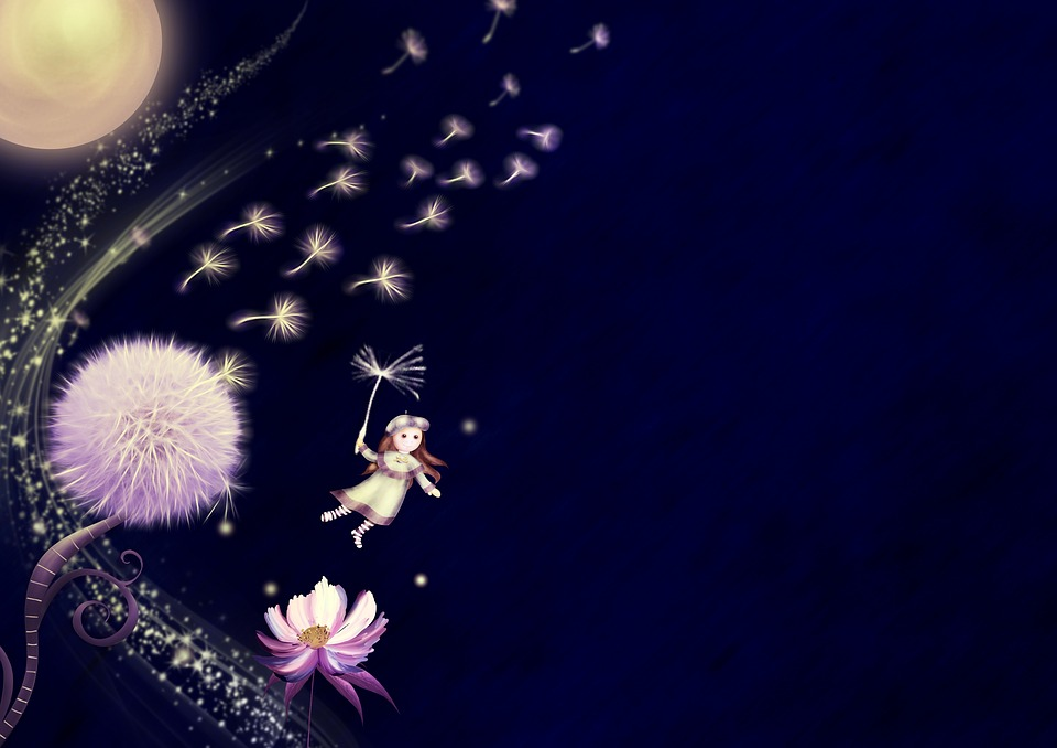 ファンタジー, タンポポ, ムーン, 花, 女の子, 飛行, コピー スペース, 夜, 暗い, 照明, 雰囲気