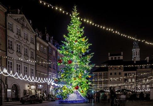 クリスマスツリー, クリスマス, 市, 市場, ワルシャワ, 装飾, 休日