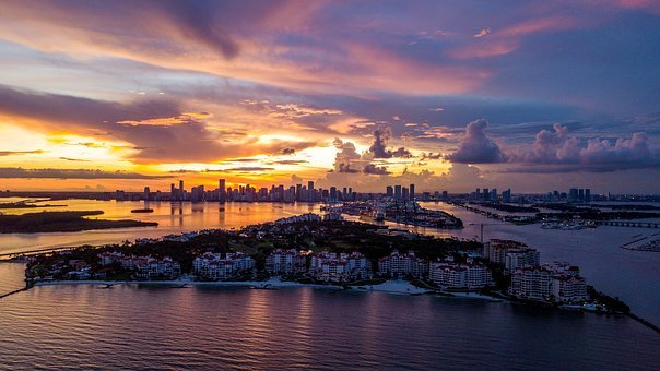 Fisher Island, Florida, Miami, Sunset