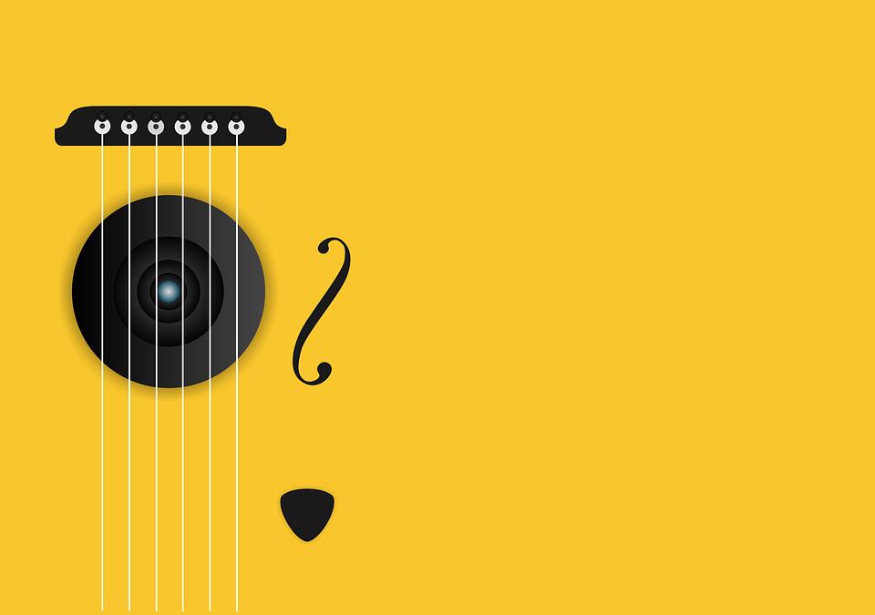 음악, 기타, 기계, 뮤지컬, 음향, 황색, 문자열, 노란 음악, 노란 기타