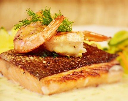 サーモン, 魚, スカンピ, 揚げ, 調理する, 新鮮, エビ