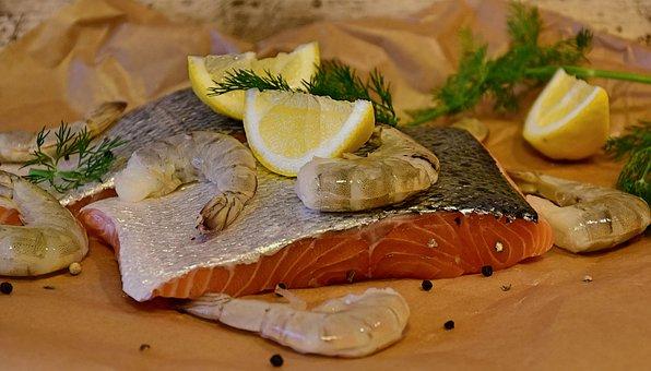 Salmon, Fish, Scampi, Raw, Seafood